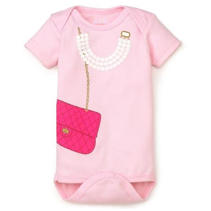 Hooyi Pink Necklace Baby Bodysuit Жаңа туған нәресте киімі baby girl bodysuits jumpsuits 100% Мақта