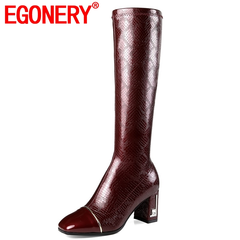 EGONERY 2018 new fashion sexy patent leather women shoes high strange style square toe zip winter warm party knee high bootsEGONERY 2018 new fashion sexy patent leather women shoes high strange style square toe zip winter warm party knee high boots