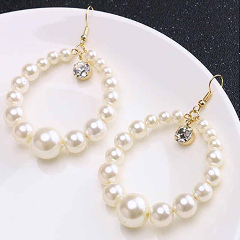 Nouveau perle Dangle boucles d'oreilles pour les femmes exagère surdimensionné perle cercle boucles d'oreilles boucles d'oreilles mode Europe boîte de nuit bijoux