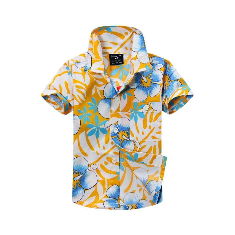2015 új érkezés pamut 100% virágos ing Hawaii ing aloha ing fiú T1503