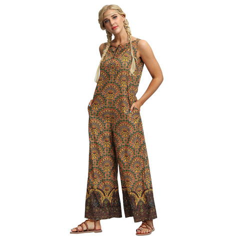 New Fashion Bohemian Women Jumpsuit Sexy Sleeveless Rompers Wide Leg Bodysuits Women Clothes Lahore