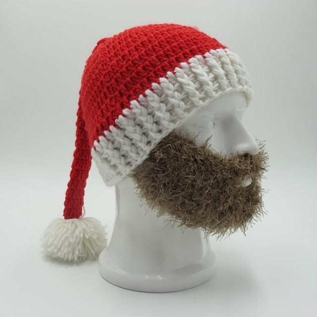 Novit barba di babbo natale berretti delle donne degli uomini divertente di  natale all uncinetto cappelli 0cbcd6b25594