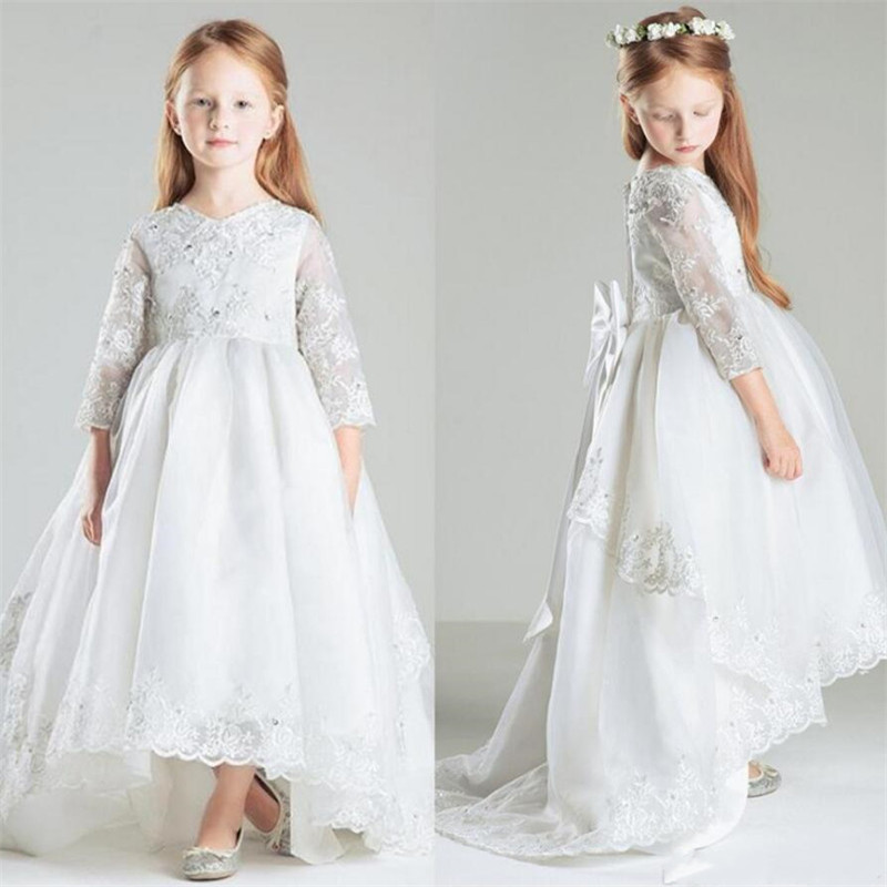 19d04850208 Pure White Holy First Communion Gowns High Low Flower Girl Dress for Wedding  with Big Bow Crystals Customized Girls Pageant Gown - aliexpress.com -  imall. ...
