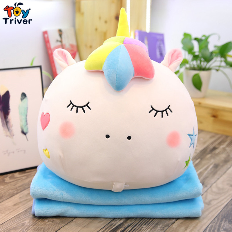 Plush Unicorn Horse Portable Toy Doll Baby Kids Shower Car Air conditioning Travel Blanket Office Nap Carpet Birthday Gift