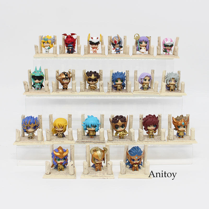 Full Set 21 Models Anime Saint Seiya Egg Box Q Version The Gold Zodiac PVC Action Figures Toys Dolls Anime Collection SS001 6pcs set disney trolls dolls action figures toys popular anime cartoon the good luck trolls dolls pvc toys for children gift