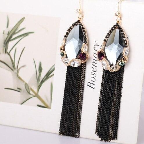 Tassel Earrings Long Earrings For Women Exaggerated Bohemia Crystal Dangle Earrings Fashion Jewelry