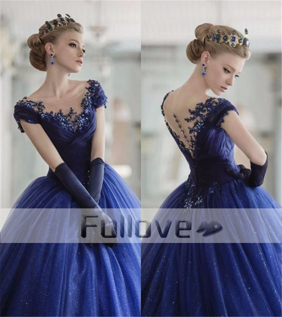 Vintage Royal Blue Appliques Brautkleider 2017 Sexy Schmal ...