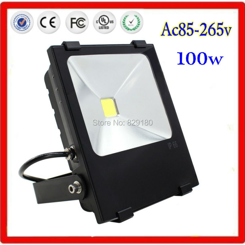 2 pieces/lot 100w Ac 85-265v LED Flood Light Waterproof Outdoor Lights 250w Halogen Bulb Equivalent Black Case ultrathin led flood light 200w ac85 265v waterproof ip65 floodlight spotlight outdoor lighting free shipping