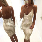 Save 0.77 on Slim sexy dress sequin summer deep v neck plus size dresses night wear open back party cocktail nightclub lace Package hip dress