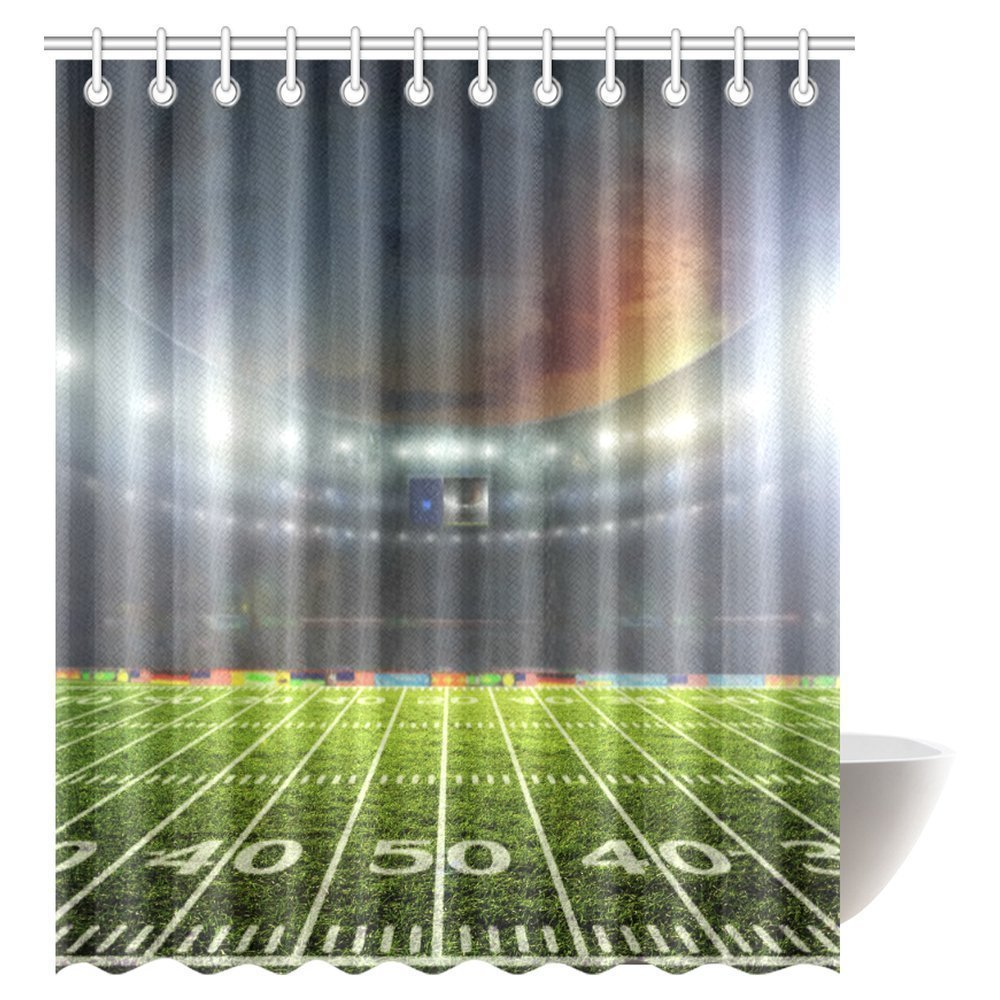 Us 22 49 Aplysia Professional Football Field At Night With Spotlights Stadium Fabric Bathroom Shower Curtain 72 X 84 Inches In Curtains From