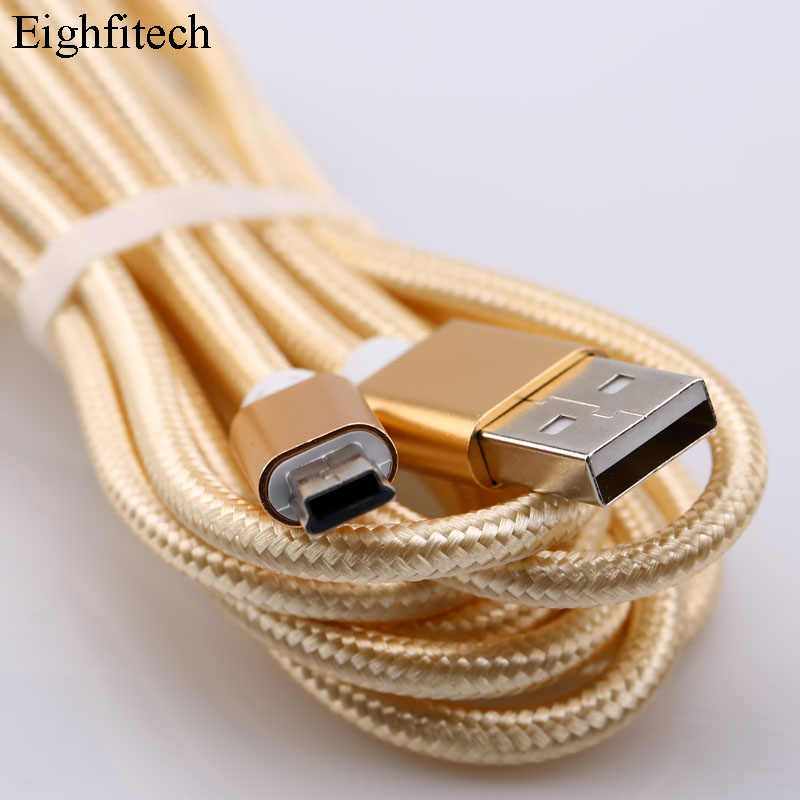 Eighfitech Gevlochten Koperen Mini Usb Data Cable Cord Adapter Usb 2.0 T-Poort Lading Lijn Voor MP3 MP4 Auto dvr Camera 1 M/2 M