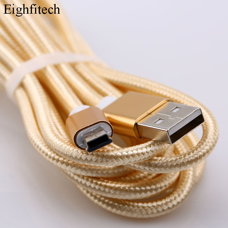 Eighfitech Braided Copper Mini Usb Data Cable Cord Adapter USB 2.0 T-port Charge Line For MP3 MP4 Car DVR Camera 1m/2m