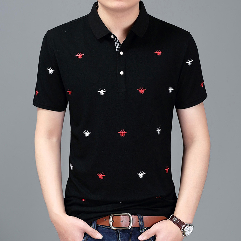 Mens   Polo   Shirt Brands 2018 Summer Male Short Sleeve Fashion Casual Slim Spider Embroidery Printing Men   Polos   3XL