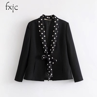 2018 Spring Fashion New Women S Black Long Sleeves Zara Dot Thin Scarf Decorated Suit Jacket