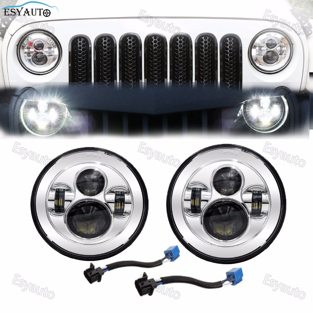 ESYAUTO 7 inch 40W Headlight Hi/Lo beam 7 Round LED Headlanps daymaker white color for Jeep Wrangler JK TJ chrome/black