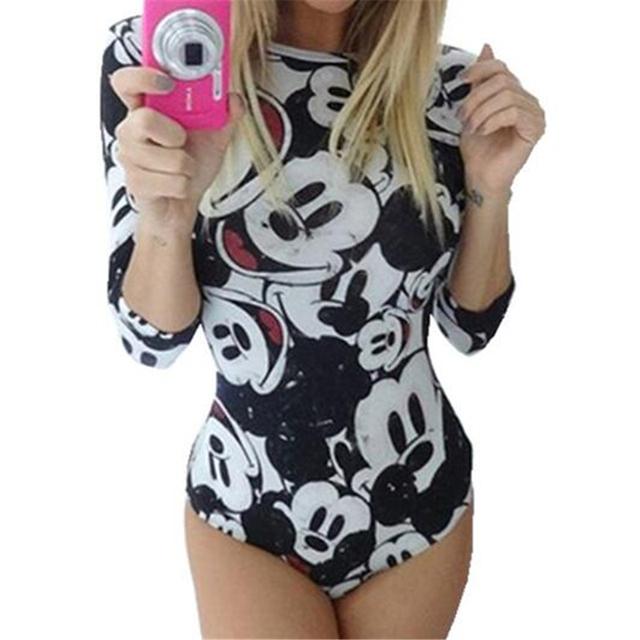 2016 Moda Verão Bodysuits Bonito Mouse Personagem de Desenho Animado Impresso Jumpsuits Playsuits Traje Fino Skinny