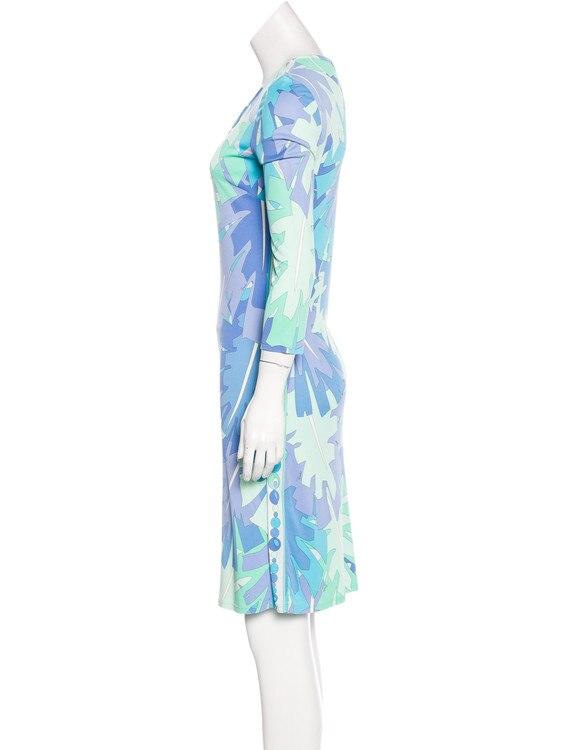 แฟชั่นใหม่2018การออกแบบเครื่องแต่งกายยี่ห้อของผู้หญิงเรขาคณิตพิมพ์3/4แขนกลวงออกเสื้อยืดผ้าไหมย์XL XXLวันชุด-ใน ชุดเดรส จาก เสื้อผ้าสตรี บน   2