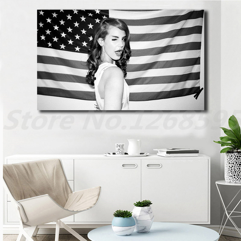 Lana Del Rey With American Flag Wall Art Canvas Poster And Print Canvas Painting Decorative Picture For Living Room Home Decor Buy At The Price Of 5 70 In Aliexpress Com Imall Com