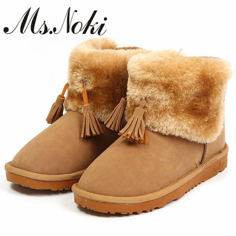 women winter snow boots with fur brand design plush warm tassel ankle for ladies flat heels short shoes woman botas