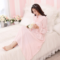YSMILE Y Sweet Women Nightgown Princess Simple Lace Nightgow Pure Color Cotton Long Sleepwear Lady Girls Daily Casual Homewear