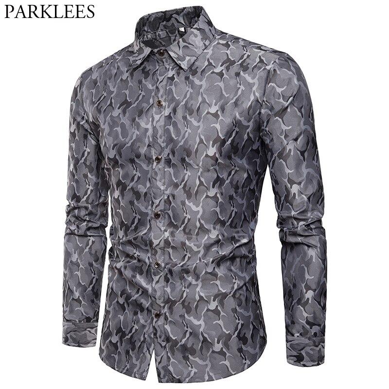 Mens Smooth Silk Cotton Dress Shirt 2018 Casual Slim Fit Long Sleeve Shirts Men Fashion Camouflage Performance Night Club Shirt