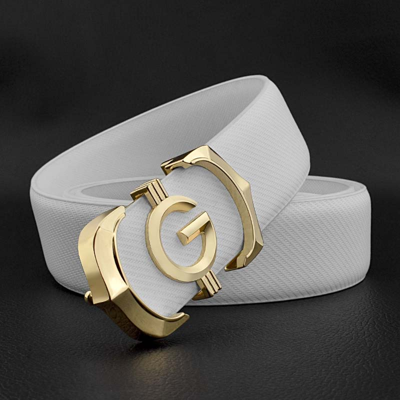 High Quality fashion g mens belt genuine leather designer belt White casual Cowskin solid smooth buckle Waistband ceinture homme