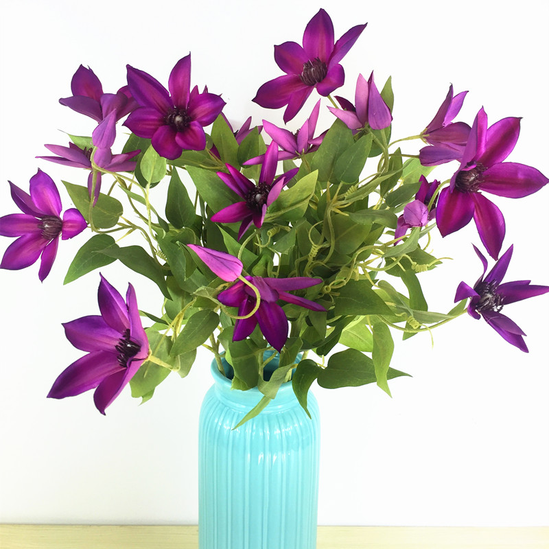 Wholesale 100pcs - Clematis Spray Flower Home Decoratitn Wedding Flower Artificial Flower Floral Even Party Flower Free Shipping