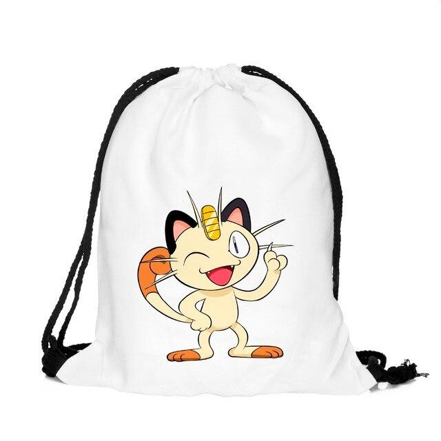41f685b1767f Meowth Drawstring Bags and backpack pokemon Japanese Harajuku Retro Cinch  Sack Pack School Kids Mens Bag BPC39