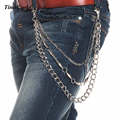 "26"" Mens Heavy Spike Link  Silver Metal  Biker  Wallet KeyChain Punk Waist Jeans Chain 3 Strands Trousers Chain KB39"