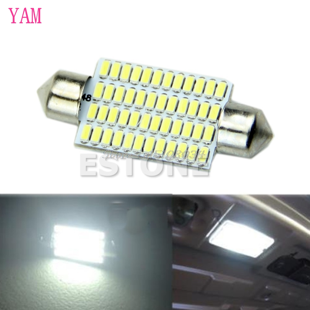 1PC 42mm 3014 48 SMD LED Car Interior Festoon Dome White Light Bulbs Lamp S08 Drop ship