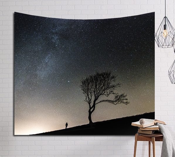 Image 5 - CAMMITEVER Psychedelic красивые звезды Звездное небо ткань настенный гобелен Декор шторы из полиэстера плюс длинный стол Крышка-in Гобелен from Дом и животные
