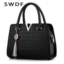 SWDF Crocodile Leather Women Tote V Letters Designer Handbags Luxury Quality Lad