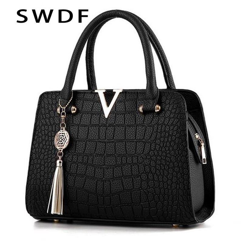 SWDF Crocodile Leather Women Tote V Letters Designer Handbags Luxury Quality Lady Shoulder Crossbody Bags Fringed Messenger Bag image