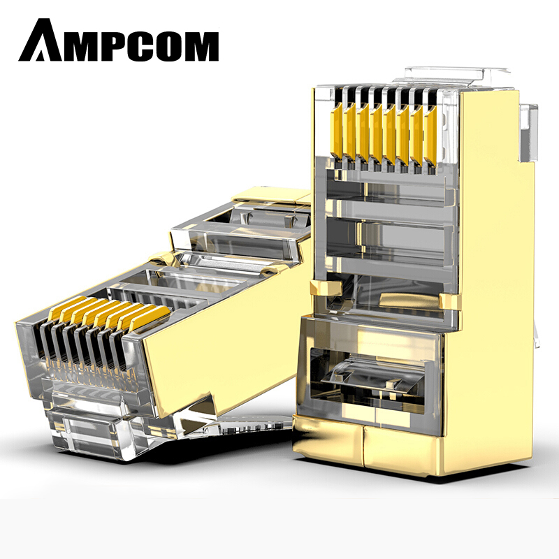 AMPCOM Shielded RJ45 CAT6 Connector Modular Plug Connector 8P8C Crimp End Ethernet Cable Ethernet Connector Gold-Plated 50U