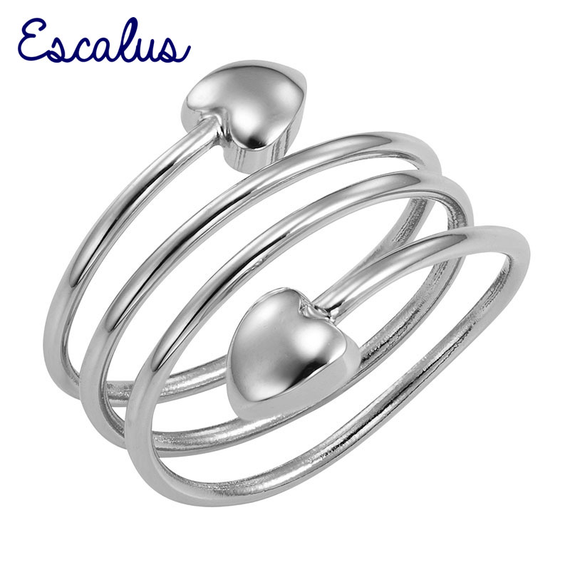Escalus Lovely Women Silver Color Spring Magnetic Ring Heart Size Resizable Female Magnet Ladies Jewelry Finger Wear Charm
