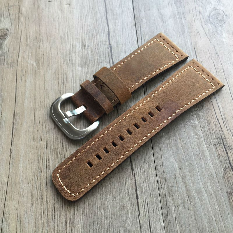 TJP 28mm Italian Genuine Leather Watchband Brown Watch Band Watch Strap for Men Seven Friday Watch hour Stainless Steel Buckle new arrive top quality oil red brown 24mm italian vintage genuine leather watch band strap for panerai pam and big pilot watch