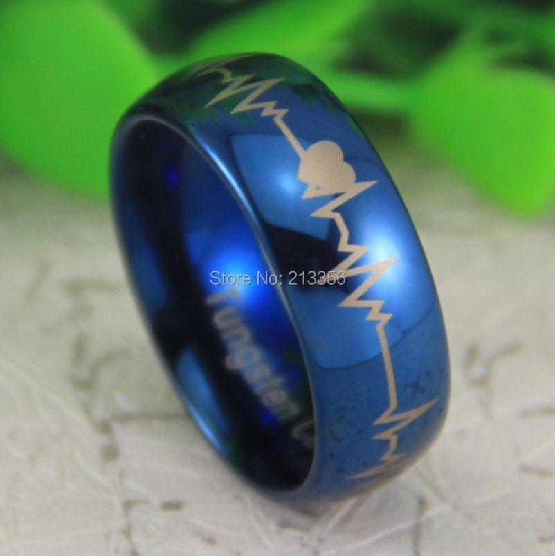 Free Shipping Usa Uk Canada Russia Brazil Hot Ing 8mm Shiny Blue Dome Foreverlove Heartbeat Men S Lord Tungsten Wedding Ring In Bands From