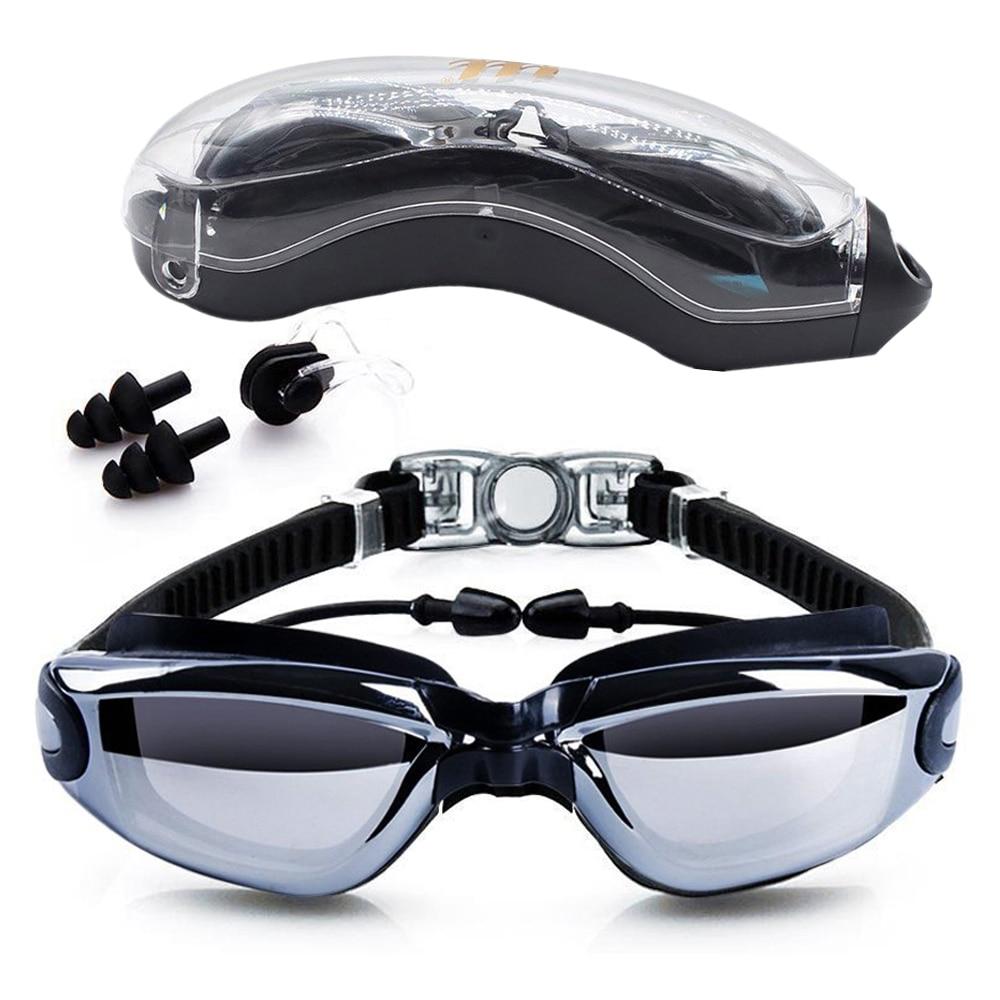 Lunettes de natation HD Anti-Brouillard 100% UV Protection Lunettes De Natation avec des Boules Quies et Nez clips Cas pour Adultes Enfants dans la piscine