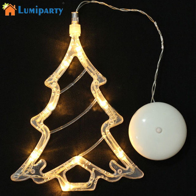 lumiparty warm white christmas tree light 8 led spots sucker lamp window ornament indoor - Battery Operated Christmas Window Decorations