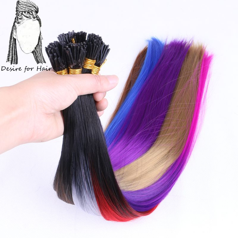 Desire For Hair 50strands 22inch Long 1g Heat Resistant Synthetic I Tip Micro Ring Hair Extensions  Purple Color For Party