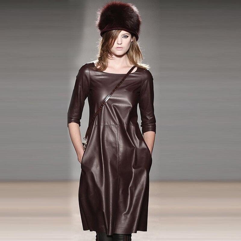 WBCTW Faux Leather Dress XXS 7XL Plus Size Half Sleeve Casual Midi Length Runway Dress Straight Style Autumn Spring Woman Dress