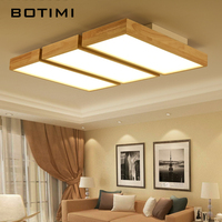 BOTIMI 220V LED Ceiling Lights Wooden Square Ceiling Lamp With Dimming Remote For Living Room Dining Light Wood Bedroom Lamps