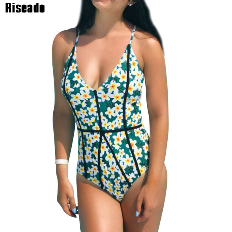 Riseado New 2018 Sexy One Piece Swimsuit Floral Printed Swimwear Women Strap V Neck Swim Wear Backless Bathing Suits white sexy deep v neck backless swimwear