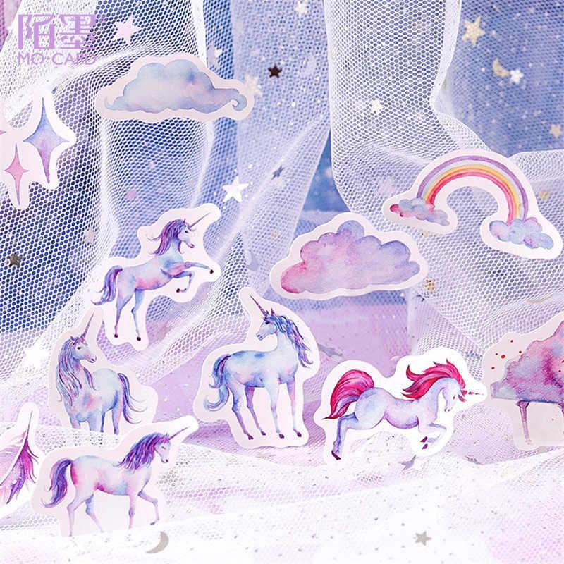 LOLEDE جديد 45 قطعة/المجموعة يونيكورن القرطاسية ملصقات يوميات Kawaii اليدوية ورق لاصق تقشر ملصقا سكرابوكينغ القرطاسية