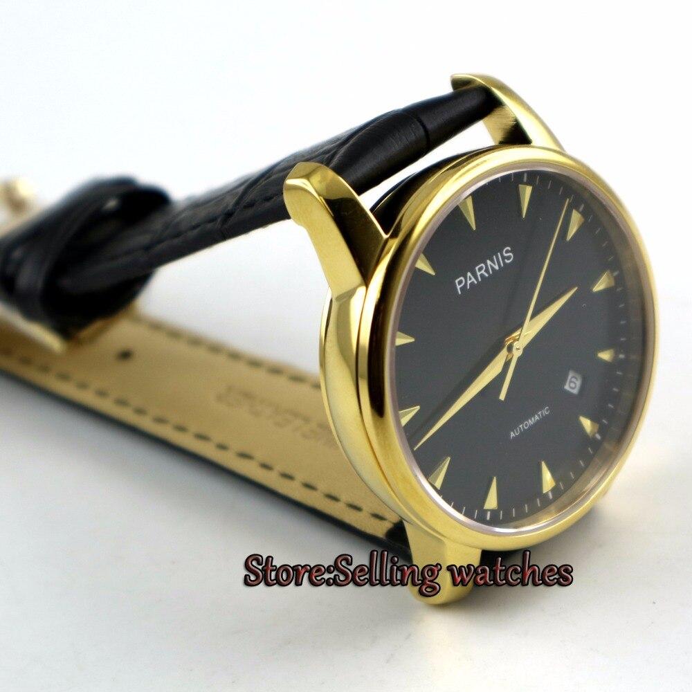 38 мм Парнис черный циферблат золотое покрытие корпуса Miyota Автоматическая Мужские наручные часы