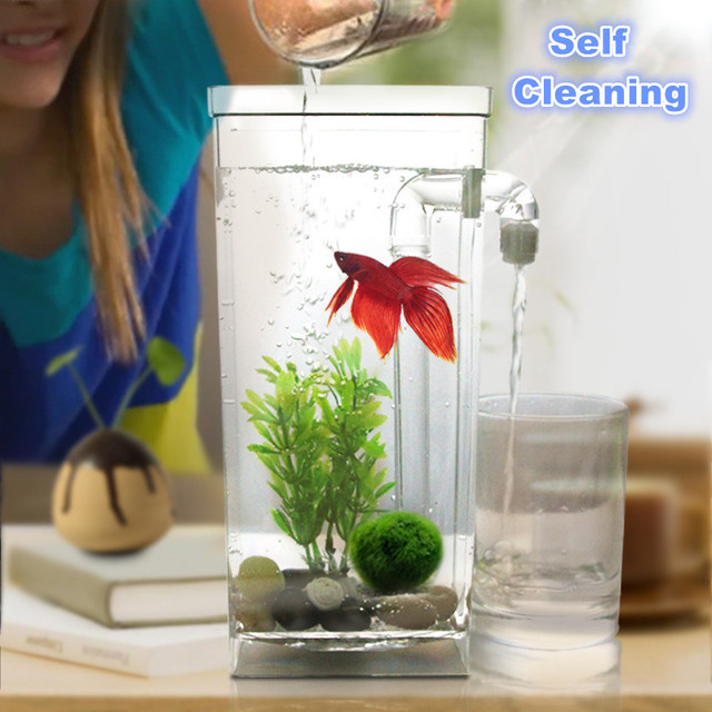 New creative self cleaning aquarium fish bowl with led for Betta fish tank light