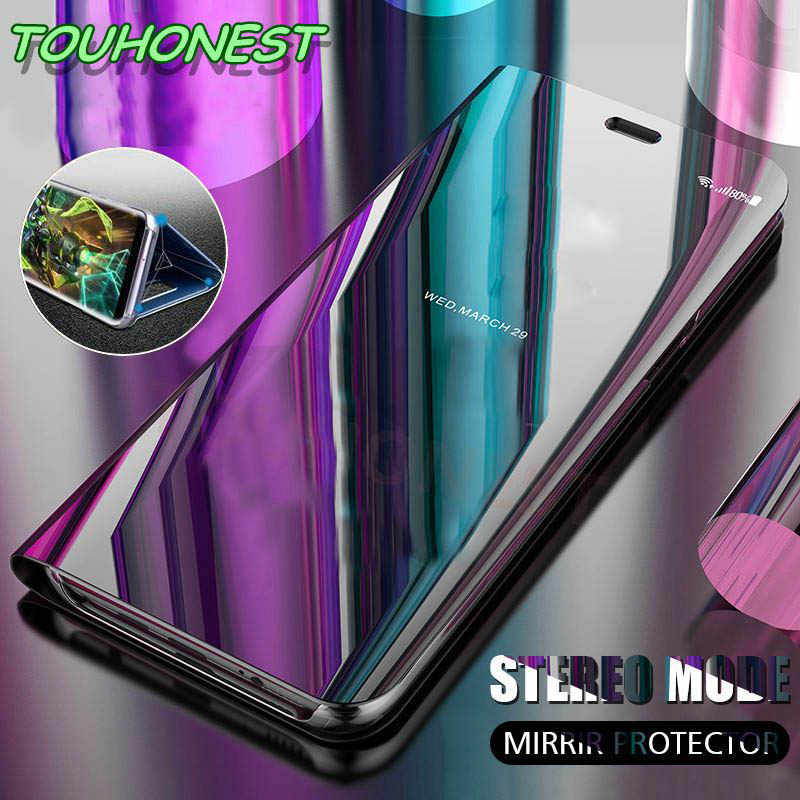 Mirror Clear View Flip Cover For Huawei honor 10 7C 7A Case for Huawei Y6  Y9 Y7 Prime 2018 Luxury stand full covr brand cases