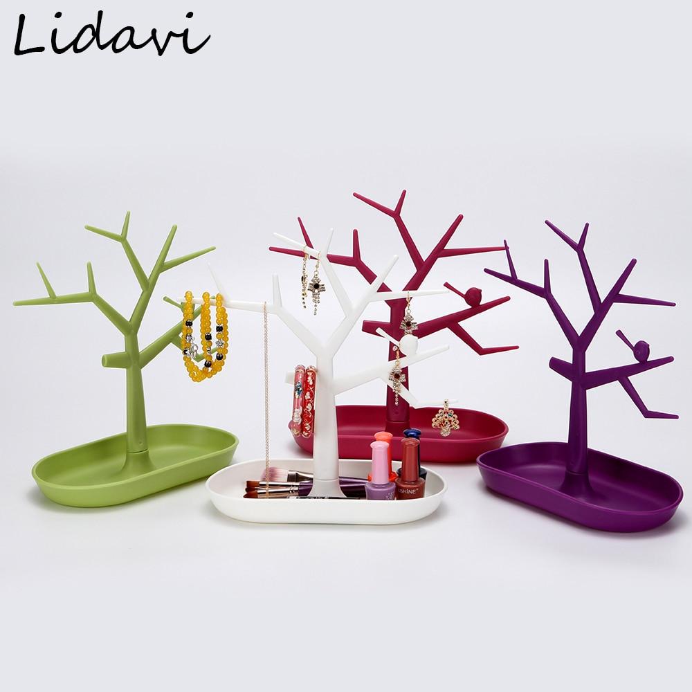 Lidavi New Bird Tree Branch Jewelry Organizer Key Storage Rack Plastic Bracelet Necklace Hanger For Keys Earring Display Stand