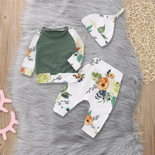 Get more info on the Infant Baby Boys Girls Long Sleeve Floral Print Tops+Pants+Hat Outfit Winter Clothes For Baby Clothing