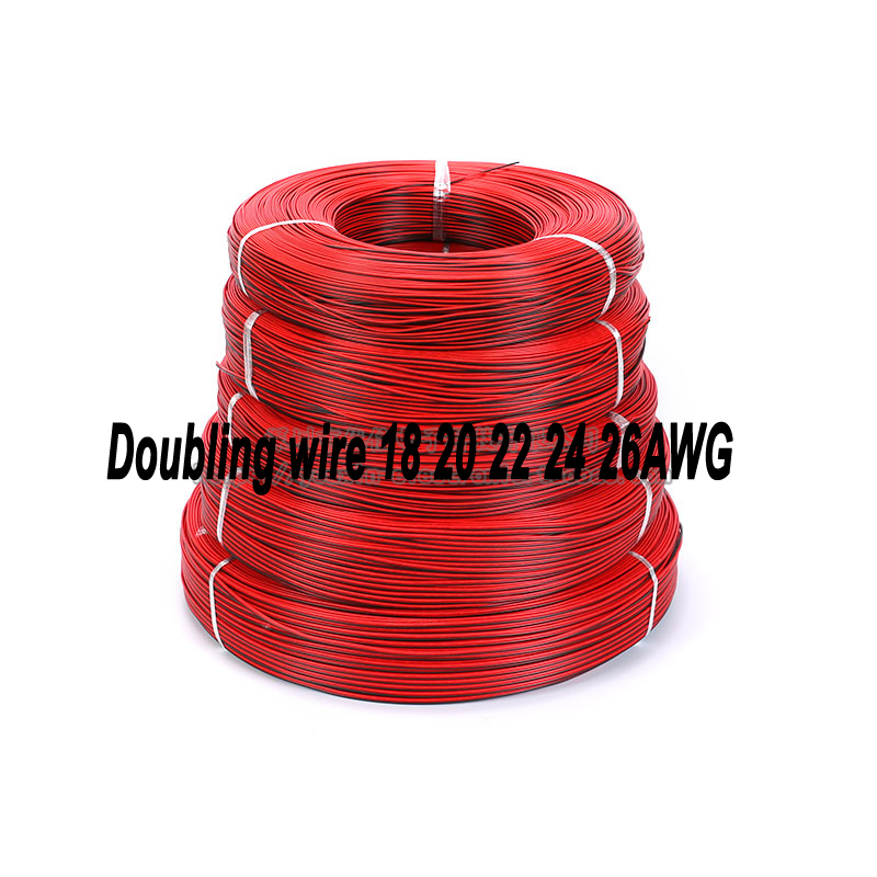 Free shipping <font><b>100M</b></font> UL2468 doubling wire 18AWG 20AWG 22AWG <font><b>24AWG</b></font> 26AWG Black&Red Tinned copper wire solder cable image